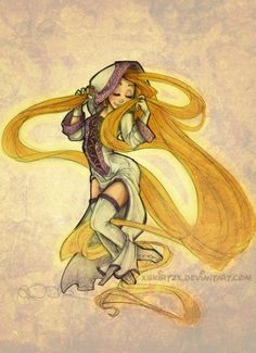 xsKiRtZx's -DA- drawings of Disney princesses and other lead female characters as Final Fantasy X-2 classes    Rapunzel as a White Mage