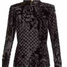 Balmain h&m silk blend blouse( only 24 hours) zipper detailing on the back and cuffs no stretch I recommend this for a size 6 or 8. It's slightly sheer as well with velvet detail (excluded from bundle discount). Balmain Tops Blouses
