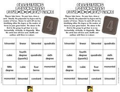 Printables Classifying Polynomials Worksheet pinterest the worlds catalog of ideas free game for classifying polynomials