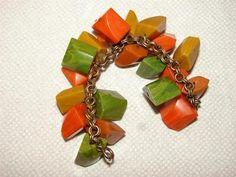 "Vintage Bakelite Old Plastic Catalin Chunky ""Bead"" Chain Link Bracelet Art Deco | eBay"