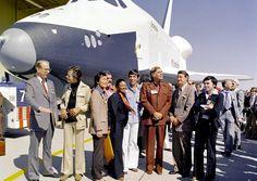 "Dr. James D. Fletcher, NASA Administrator, DeForest Kelley (Dr. ""Bones"" McCoy), George Takei (Mr. Sulu), James Doohan (Chief Engineer Montgomery ""Scotty"" Scott), Nichelle Nichols (Lt. Uhura), Leonard Nimoy (the indefatigable Mr. Spock), Gene Rodenberry (The Great Bird of the Galaxy), and Walter Koenig (Ensign Pavel Checkov). Photo by: NASA"