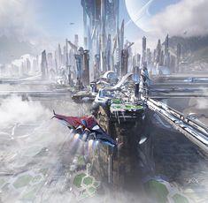 Fantasy City, Futuristic City, Image Painting, Dream City, Concept Architecture, Future City, Urban Landscape, Traditional Art, Amazing Art
