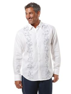 100% Linen Long Sleeve Ombre Floral Embroidery Shirt