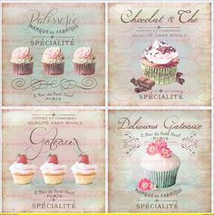 Möbeltattoo`s Nostalgie Shabby-Chic Cafe Cupcake CookieTransparent Cupcake Vintage, Vintage Labels, Vintage Cards, Vintage Pictures, Vintage Images, Cupcake Torte, Cupcake Fondant, Rose Cupcake, Cupcake Toppers