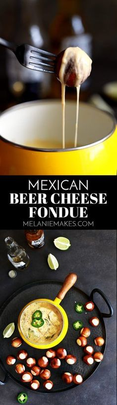 This seven ingredient Mexican Beer Cheese Fondue comes together in just 20 minutes. Mexican beer, jalapeños, garlic and cheddar cheese are stirred together to create this melty, luscious dipping sauce that's just begging to be served at your next game day get together.
