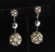 2 Inch Vintage Art Deco Clear Rhinestone Earrings, Art Deco Rhinestones, Large Rondelle Chandelier Clipons, Dramatic Evening Wear