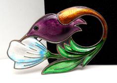 David Andersen Sterling Enamel Hummingbird Brooch Norway