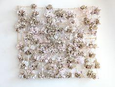 "Rebecca Hutchinson, Distending Pink, Kolva-Sullivan Gallery, Spokane, WA, 6' x 8' x 18"", 2015 Porcelain Paper clay, Fiber, Organic Material"
