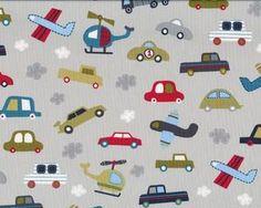 """Patchworkstoff """"Vroom"""" mit kleinen Autos, Flugzeugen und Hubschraubern, hellgrau-helles olive-rot"""