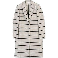 Msgm Coat (£465) ❤ liked on Polyvore featuring outerwear, coats, jackets, coats & jackets, msgm, beige, stripe coat, lapel coat, long sleeve coat and striped coat