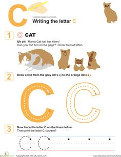 Help your preschooler build strong fine motor skills with this fun worksheet as she learns all about the letter C. Letter Worksheets, Fun Worksheets, Handwriting Worksheets, Kindergarten Worksheets, Alphabet For Kids, Learning The Alphabet, Alphabet Tracing, Alphabet Crafts, Preschool Writing