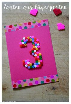 Crafts with ironing beads - quick birthday Basteln mit Bügelperlen – Schnelle Geburtstagskarte Crafts with ironing beads – quick birthday card - 18 Birthday, Birthday Cards, Birthday Gifts, Deco Tape, Diy For Kids, Crafts For Kids, Diy Bebe, Iron Beads, Beaded Crafts