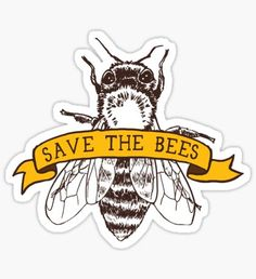 """Save The Bees!"" Stickers by comfykindness Food Stickers, Phone Stickers, Printable Stickers, Cute Stickers, Free Printables, Carpe Koi, Tumblr Stickers, Mac Book, Bee Art"
