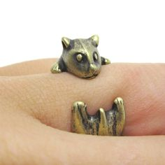 Baby Hamster Gerbil Shaped Animal Wrap Ring in Brass | Size 3 to 6.5 $11.50 #hamsters #animals #jewelry #rings #pets #cute
