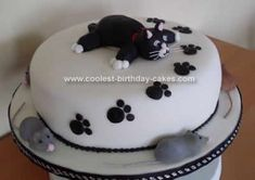 Homemade Cat Cake Design: I made a lemon cake with lemon curd buttercream covered in white sugarpaste. I covered the bottom board in white sugarpaste also. To clean up the edges