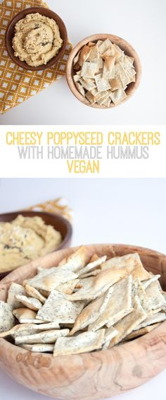 Recipe for vegan Cheesy Poppyseed Crackers served with homemade Hummus. Perfect for parties or lazy days in front of the TV. Vegan Party Food, Healthy Vegan Snacks, Vegan Appetizers, Easy Snacks, Vegan Food, Eating Vegan, Vegan Bread, Vegan Pasta, Vegan Meals