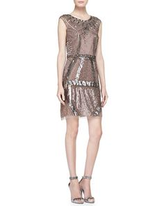 Beaded & Sequined Art Deco Cocktail Dress by Aidan Mattox at Neiman Marcus.
