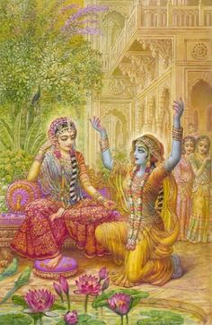 Krishna, the original cross dresser, disguised as a woman to get near Radha.