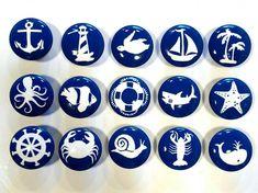 Nautical Drawer Knob Custom Ocean Drawer Knob Beach Decor   Etsy Nautical Drawer Knobs, Nautical Drawers, Painted Rocks, Hand Painted, Kitchen Cabinet Knobs, Nautical Design, Ceramic Knobs, Shell Crafts, Wood Screws