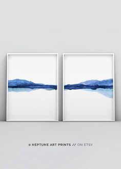 2 Piece Indigo Watercolour Print, Abstract Landscape Watercolor Painting, Modern Art Navy Blue White Water Poster Mountain Reflection Nature Printable art is an easy and affordable way to personalize your home or office. You can print from home, your l