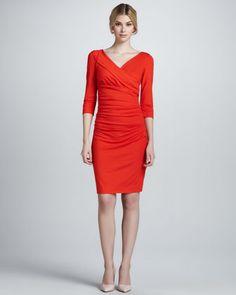 Bentley Three-Quarter-Sleeve Ruched Dress by Diane von Furstenberg at Neiman Marcus.