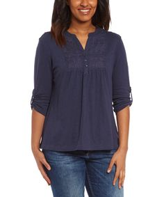 Look at this Overdrive Blue Embroidered Three-Quarter Sleeve Top on #zulily today!
