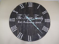 Huge handpainted handcrafted wooden wall clock recycled from old pallets or skids. Clock pictured is 3.5 feet with a 24 inch minute hand.
