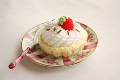 Strawberry Tartlet crocheted food by BeeLiciousCrafts on Etsy, $14.00