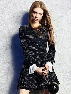 Black V-neck Polka Dot Print Bowtied Flare Cuff Dress | Choies