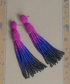 Oscar de La Renta Tassel earrings Blue earrings Pink earrings
