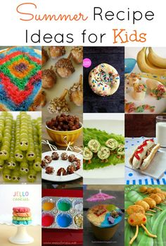 Summer Recipes Ideas for Kids - great for keeping kids entertained indoors on hot days! Summer Food Kids, Easy Summer Meals, Summer Recipes, Summer Fun, Fun Recipes, Toddler Meals, Kids Meals, Salada Light, Cooking With Kids