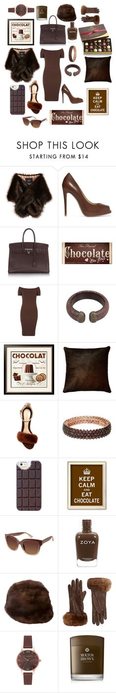 """""""Chocolate is so yummy👌"""" by ipekzsuel ❤ liked on Polyvore featuring Unreal Fur, Giuseppe Zanotti, Hermès, Too Faced Cosmetics, Dorothy Perkins, Artistica, Monique Lhuillier, Suzy Levian, Casetify and Vince Camuto"""