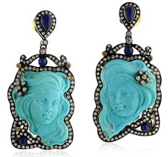 Turquoise Carving Earring - United Gemco Inc.