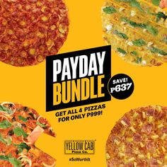 The most propitious days to engage in pizza binge-eating adventure are brought to us by Yellow Cab Pizza's Payday Bundle! Tuck in for Pizza Art, Pizza Promo, Chicken Poppers, Food Menu Design, Pizza Flavors, Food Banner, Food Branding, Favourite Pizza, Pizza