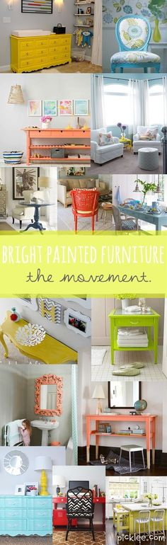 The Bright Painted Furniture Movement {Inspiration} | Picklee Love the blue chair top right