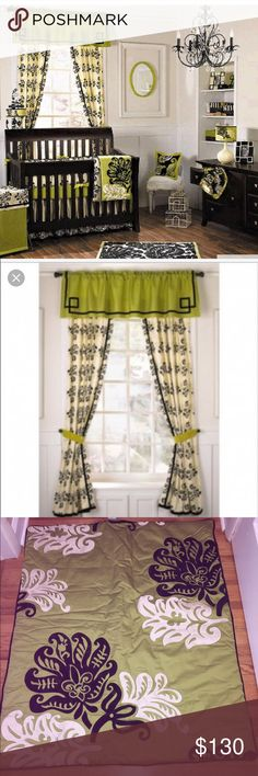 Cocalo Couture Harlow Nursery Set Black on white patterns with accents of apple green make a contemporary statement.  In amazing/ Gently used Condition- no stains , rips or fading.From a smoke free & pet free home. Set includes:  4 long pannel curtains ( 42 in. X 84 in.) 2 valance curtains (72 in. X 19 in.) 4 Apple Green Velvet cutrain tiebacks Bed skirt length (17 in) platform size ( 27 in. X 51 in.)Crib blanket (35 in X 42 in.) Apple green fitted crib sheet ( standard size)  Padded crib…
