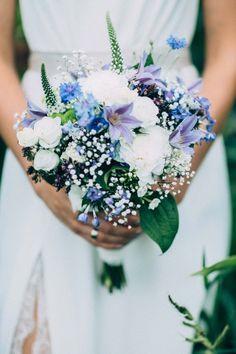 #Brautstrauss in blau und weiß