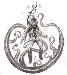"""Went a bit """"overboard""""  on this one ;D for #inktober and #drawlloween. Enjoy.  #art #artist #illustrator #illustration #drawing #draw #tentacle #ink #inktober2016 #drawlloween2016 #inktoberday4 #drawlloweenday4 #underthesea #scuba #diver #fantasyart #sketch #doodle #traditionalart #bubbles #octopus #dailydoodle #dailyart #macabre"""