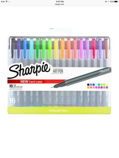 Sharpie Art Pens - Fine Point - 16 Count - Assorted Colrs - New Hard Case Fine Point Pens, Fine Pens, Sharpie Pens, Sharpies, School Suplies, Stationary School, Cute School Supplies, Best Pens, Marker Pen