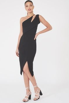 0be39431eb08 Lavish Alice - One Shoulder Midi Wrap Dress in Black. Viki Vehnovsky · Minimalist  evening dress