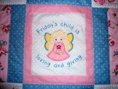 Cot bed sized quilt, hand made, personalised