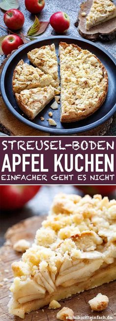 Simple crumble cake with apple- Einfacher Streuselboden Kuchen mit Apfel Crumble cake with apple Apple Cake Recipes, Apple Desserts, Dessert Recipes, Pastry Recipes, Baking Recipes, Apple Crumble Cake, Food Cakes, Pretty Cakes, Bakery