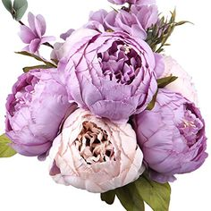 LeagelFake Flowers Vintage Artificial Peony Silk Flowers Bouquet Wedding Home Decoration, Pack of 1 (New Purple)