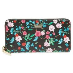 Women's Kate Spade New York Cameron Street Jardin Lacey Leather Wallet ($178) ❤ liked on Polyvore featuring bags, wallets, black multi, genuine leather bags, leather flower bag, flower print bag, kate spade bags and genuine leather wallet