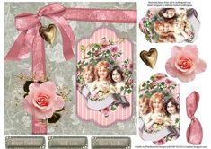 Pink Rose Girls Topper with Pyramid Decoupage on Craftsuprint - Add To Basket!