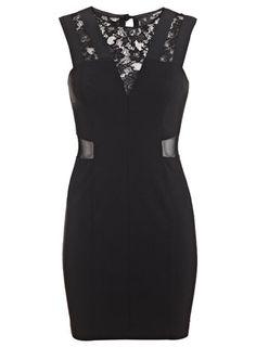 Petites Black Lace Insert Dress