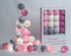 une guirlande à personnaliser 20 boules : 5 gris perle 5 rose bonbon 5 rose poudré 5 rose clair
