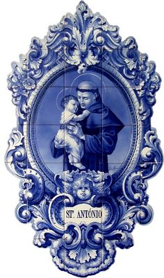 Saint Anthony | Hand-Painted Azulejo Panel - $349