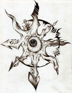 Corey Tattoo Design: Tattoo Designs by Glen McIntyre Elbow Tattoos, Knee Tattoo, Star Tattoos, Body Art Tattoos, Hand Tattoos, Sleeve Tattoos, Tatoos, Chaos Tattoo, Symbolic Tattoos