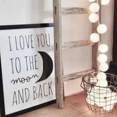 I love you to the moon and back cotton ball lights!
